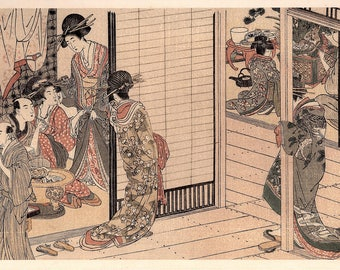 1906, Japanese antique woodblock print, Kitagawa Utamaro, from Ukiyoe-ha-gashu.