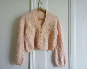Cardigan short pink bolero vintage jacket sweater wool handmade