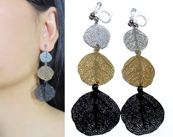 Filigree Leaves Clip On Earrings |36M| Black Gold Silver Colorblock Dangle Long Clip Earrings, Non Pierced Invisible Boho Clip-ons Earrings