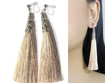 Tropical Sand Tassel Clip On Earrings |35K| Long Bridal Boho clip on earrings Wedding Dangle clip on earrings