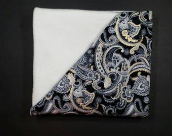 Buttercream Paisley Lap Blanket   throw   fleece   cotton   Lather Up Naturally , handmade, homemade, artisan, fabric