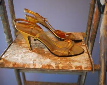 Gold Barratts UK size 37 (6) Giselle style Sandals