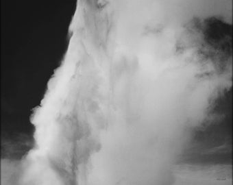 Poster, Many Sizes Available; Old Faithful Geyser Erupting In Yellowstone National Park By Ansel Adams
