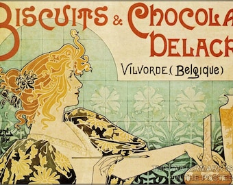 Poster, Many Sizes Available; Art Nouveau P4 Biscuits And Chocolat Delacre C1896 Henri Privat-Livemont Art Naouveau