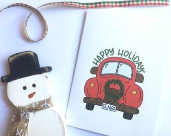 Christmas Card Happy Holidays Card blank Card