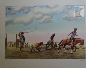 Florencio Molina Campos 'La hierra' Minneapolis Moline Lithograph 1951