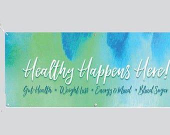 Healthy Happens Here - BLUE  2.5' x 6' - DIGITAL FILE