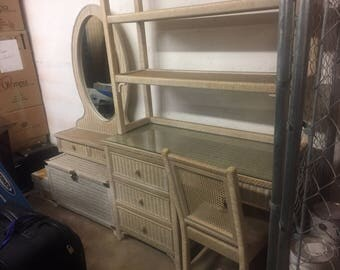 High quality vintage white-washed wicker dressers and desk