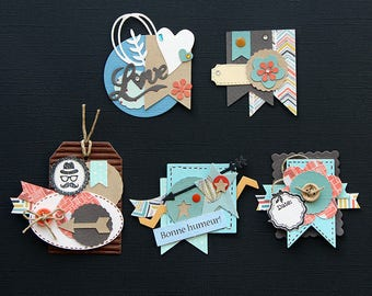 Set of 5 handmade paper scrapbooking embellishments