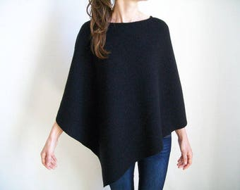 WOMENS BLACK CAPE / 100% Merino Wool Poncho/ Wool Cape/ Asymmetrical Sweater Tunic/ Black Poncho/ Pure Wool Shawl Wrap/ Spring Jacket/Poncho