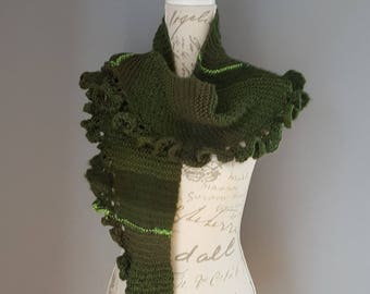 Scarf shawl bolero forest green scarf handmade knitted scarf for her gift idea gift for her shoulder cover winter scarf for her