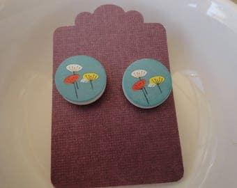 Printed Wood Round Earrings