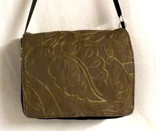 "Embroidered ""Flobag"" black and Brown Messenger bag"