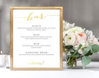 Bar Cheers! Menu Wedding Sign Template, Gold 8x10 Wedding Sign, Instant Download, DIY Sign Printable, Wedding Reception Drinks Sign