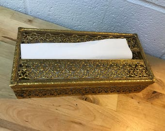 Tissue holder vintage gold toned