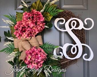 NEW!!  Hydrangea wreath, hydrangea wreath for front door, spring wreath, summer wreaths, wreaths for front door, door wreath,