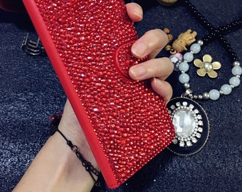 Bright Red New Sparkles Bling Luxury Flip Slot Cards Holder Gems Wallet Leather Crystals Rhinestones Diamonds Fashion Case for Mobile Phones