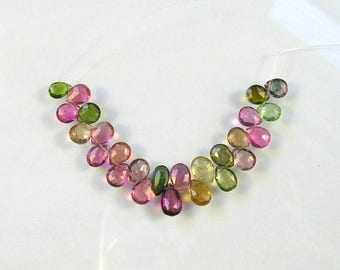 """Multi tourmaline faceted pear beads AAA+ 6-7.5mm 3"""" strand"""
