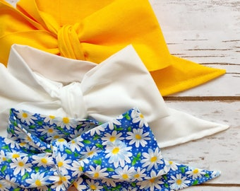 Gorgeous Wrap Trio (3 Gorgeous Wraps)- Mustard, Blanc & Blue Daisy Love Gorgeous Wraps; headwraps; fabric head wraps; bows