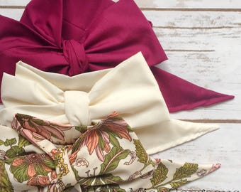 Gorgeous Wrap Trio (3 Gorgeous Wraps)- Cranberry, Ivory & Vintage Olive Floral Gorgeous Wraps; headwraps; fabric head wraps; bows