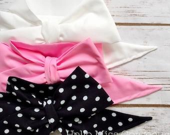 Gorgeous Wrap Trio (3 Gorgeous Wraps)- Blanc, Petal Pink & Noir Dots Gorgeous Wraps; headwraps; fabric head wraps; bows