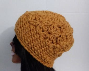 Crochet Hat  Womens Beanie  Beanie Hat  Slouchy Hat ,  Mustard Hat,  Winter Hat,  Wool Blend Hat,  Slouchy Beanie,