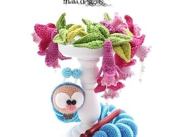 caterpillar with fuchsias - crochet pattern by mala designs®
