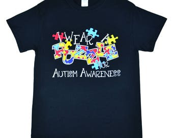 I Wear a Puzzle For Autism Awareness Black T-Shirt Was 14.95 Now 8.97