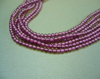 """Rhodolite Garnet Smooth Round Beads 15"""" Strand"""