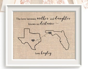 Love Between Mother and Daughter Knows No Distance, Christmas Mom's Gift, Mom, Map Art Print, Long Distance Love