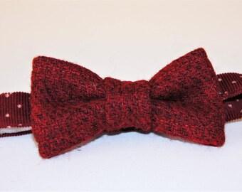 Burgundy/Claret Harris Tweed Toddler Bow Tie