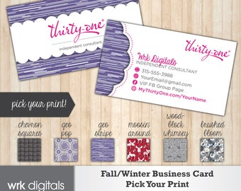 Thirty One Business Cards, Fall Winter 2017 Prints, Pick Your Print Custom Business Card, Direct Sales, Thirty One Consultant, PRINTABLE
