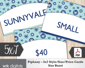 Piphany Style Cards 5x7 Signs, Size Card, Price Sign, Star Burst Design, Fashion Stylist, PRINTABLE, INSTANT DOWNLOAD