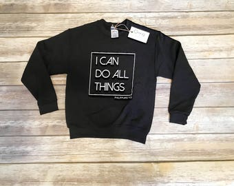 Youth, I Can Do All Things, Phillipians 4:13 Black LS Sweatshirt