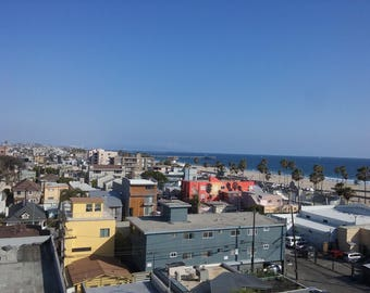 4x6 Photography Print, California Photography Print, Beautiful Blue Sky, View From High Rooftop Lounge at Venice Beach, Wall Art.
