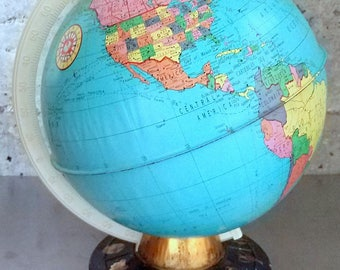 "1960's Ohio Art Pressed Metal Tin/9"" World Globe w Zodiac Astrological Signs on Base /Vintage Educational Toy/Metal Toy/Tin Toy/Child Toy"
