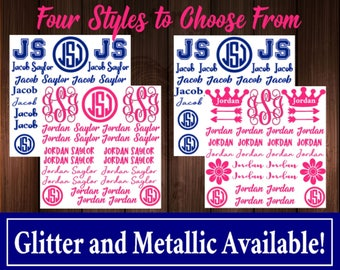 Back to School Name and Monogram Decal Sheet Set, Name Decals, Monogram Decals, Name Stickers, Monogram Stickers, Phone Decal, Yeti Decal