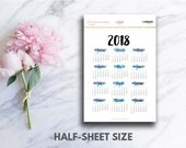 2018 Year At A Glance Brush Header Stickers (perfect for bullet journals)