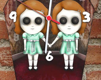 Wooden wall coffin-clock -Grady twins, The Shining movie. Handmade wall clock. Coffin shaped. Gothic decoration. Horror film clock