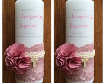 Baptism candle, Christening candle, baptism candle set for girls,