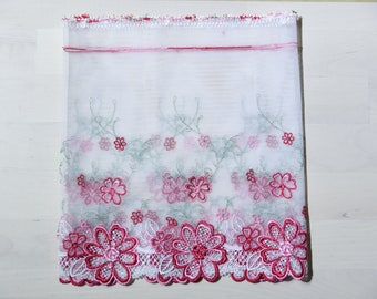 """soft lace Fabric one yard red white 10"""""""