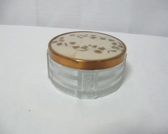 Vintage Heavy Glass Powder Jar with Cover Dresser Decorator Bathroom Decorator Jewelry Box SEE Details FREE Shipping