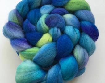 "Indie Dyed Fiber, Roving, Blue,Green, Violet, Superwash Merino, Top - ""Bahama"""