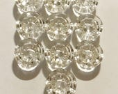 """Lot of 10 Vintage Round Flower Glass 1/2"""" Buttons"""