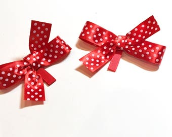set of 2 hair clips red polka dots white bow hair piece girl adult or child hair accessories