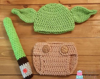 Crochet Baby Yoda newborn photo prop, halloween costume or christmas gift