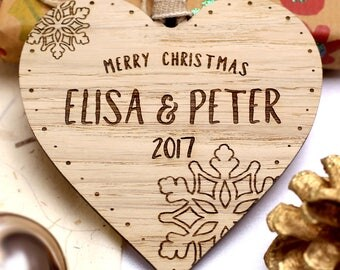 Personalised Christmas Decoration, Personalized Wooden Christmas Tree Bauble, Heart Christmas Ornament, Xmas Tree Gifts