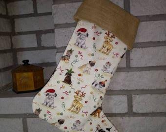 Luxury Christmas stocking, Classic Christmas stocking, Big Christmas Stocking, personalised Christmas Stocking, dog, cute dogs