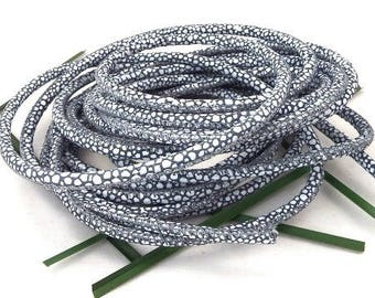 round leather cord nappa gray and white high quality 4mm by 20cm