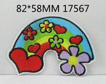 1 Piece - Heart Rainbow Flower Embroidery Patch Iron On with glue - Approx. 3.3 inches